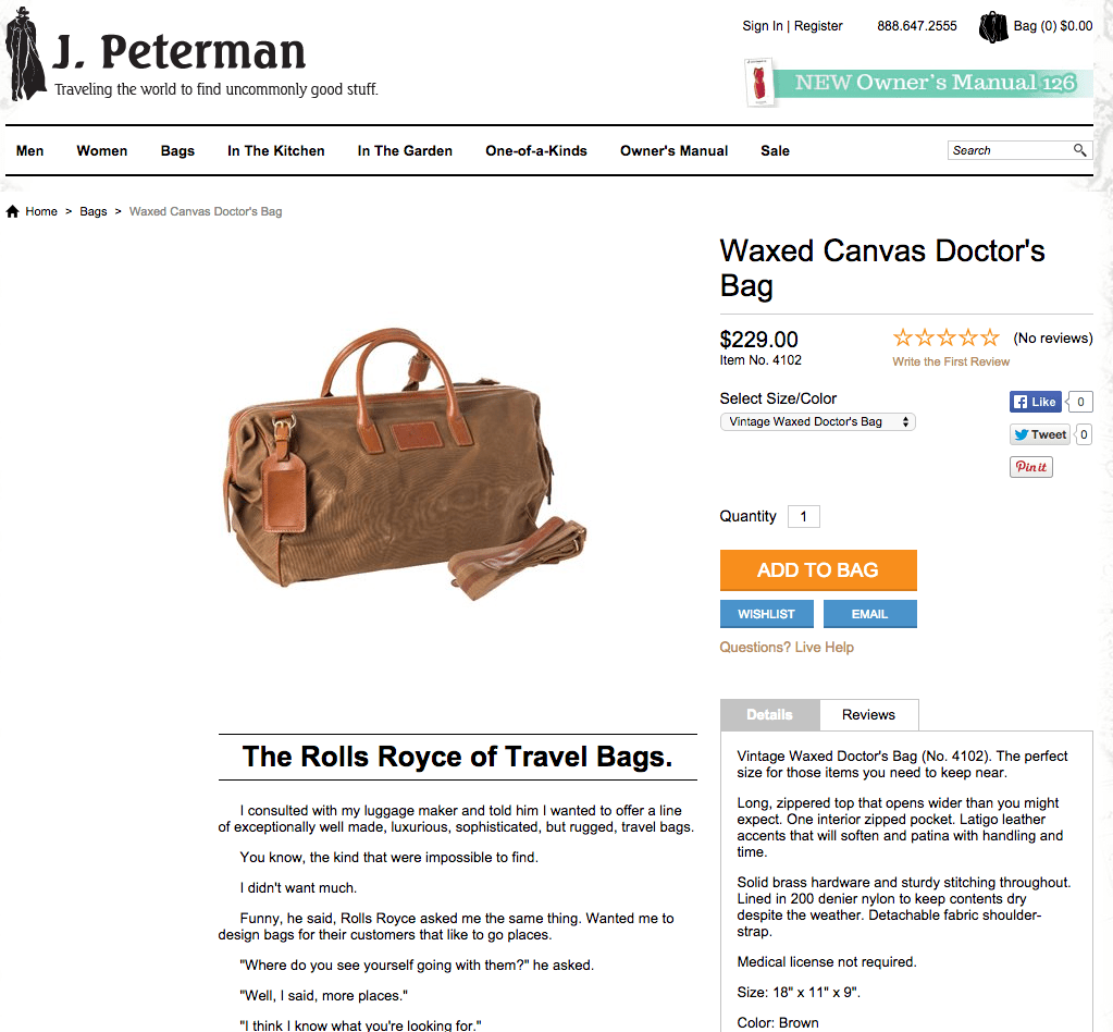 Waxed Canvas Doctor s Bag The J. Peterman Company
