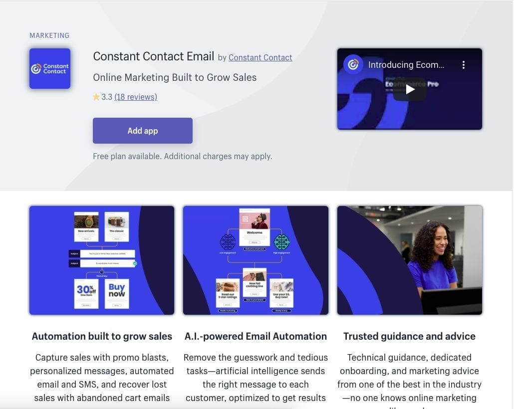 Constant Contact Shopify app