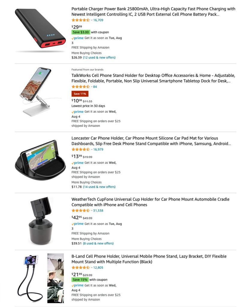 Cell phone accessories on Amazon