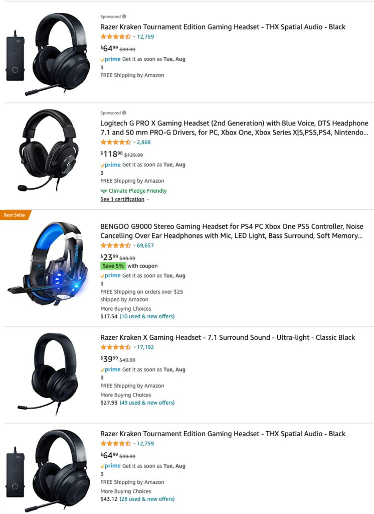Gaming headsets on Amazon