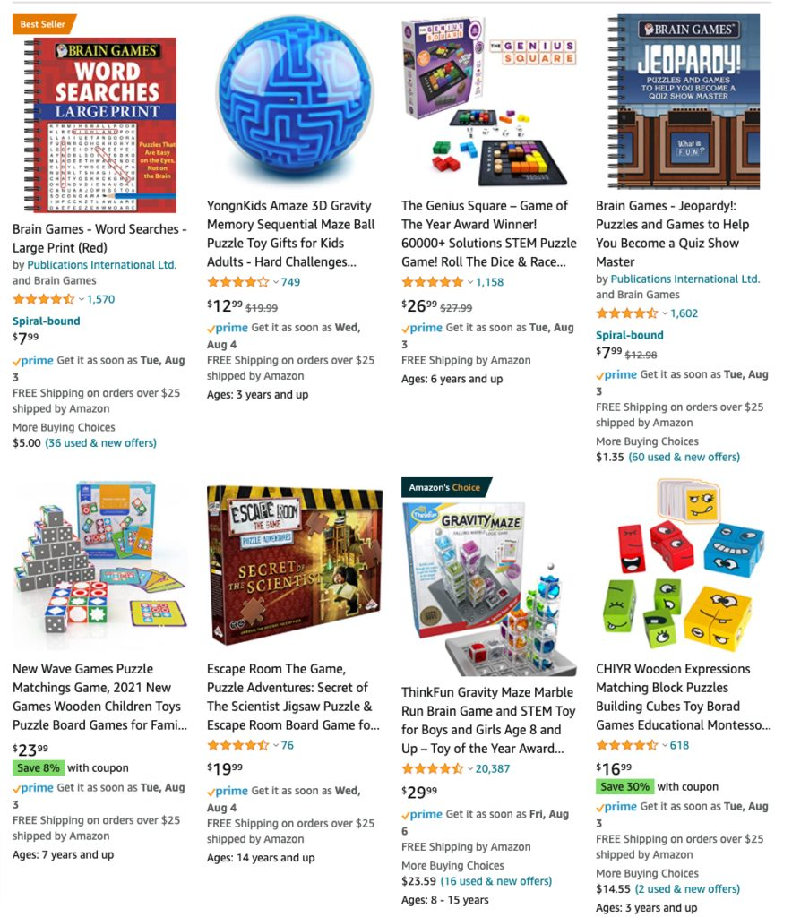 Puzzles and games on Amazon