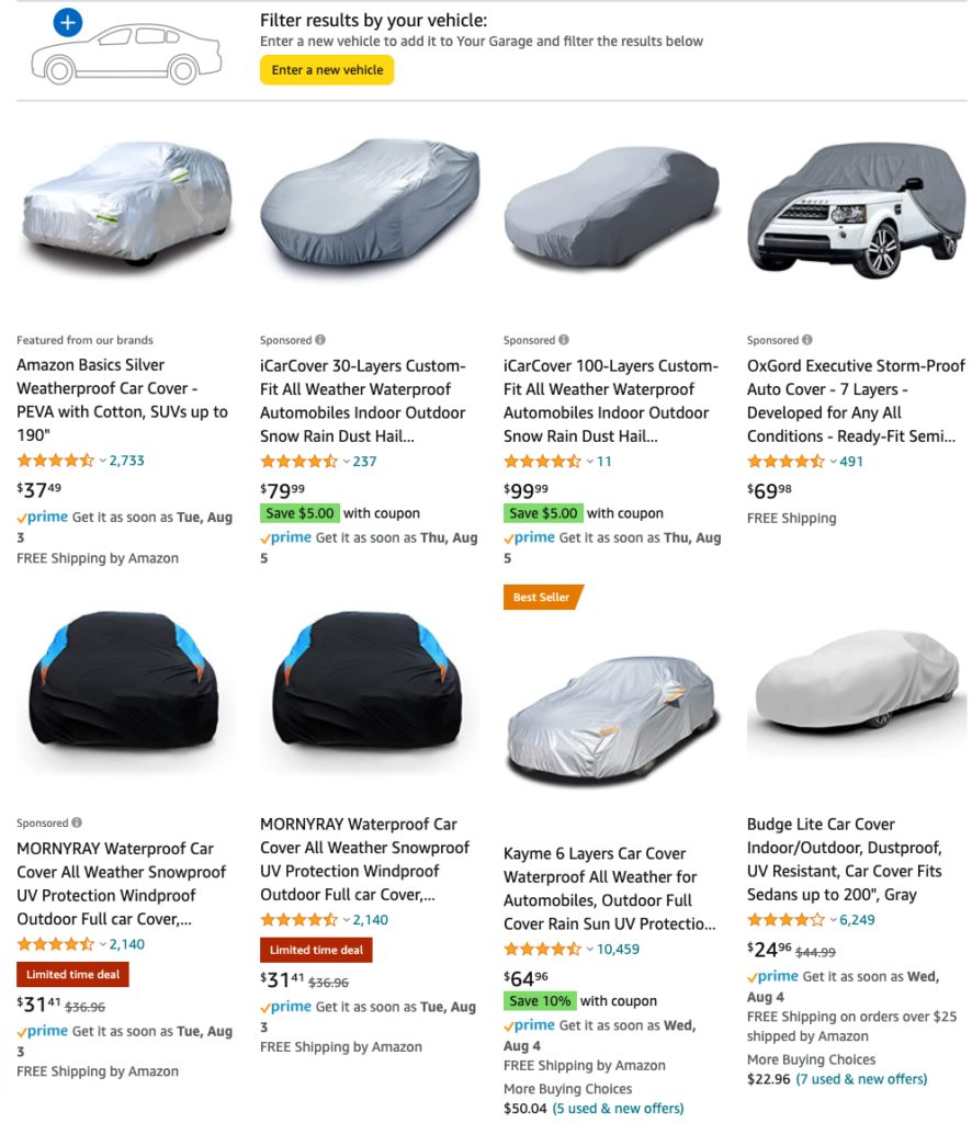 car covers on Amazon