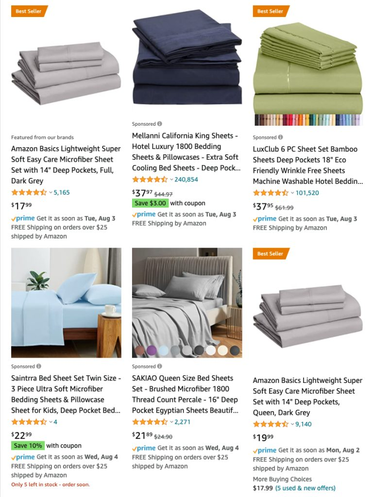 Top products to sell on Amazon - microfiber sheet sets