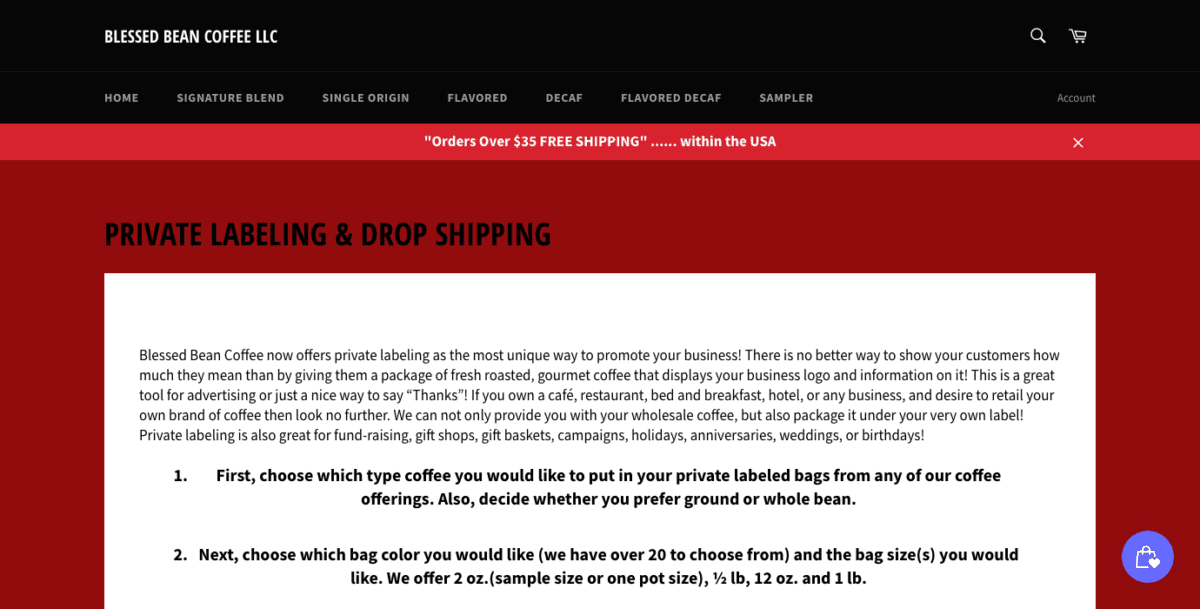 Blessed Bean Coffee Dropshipping Page