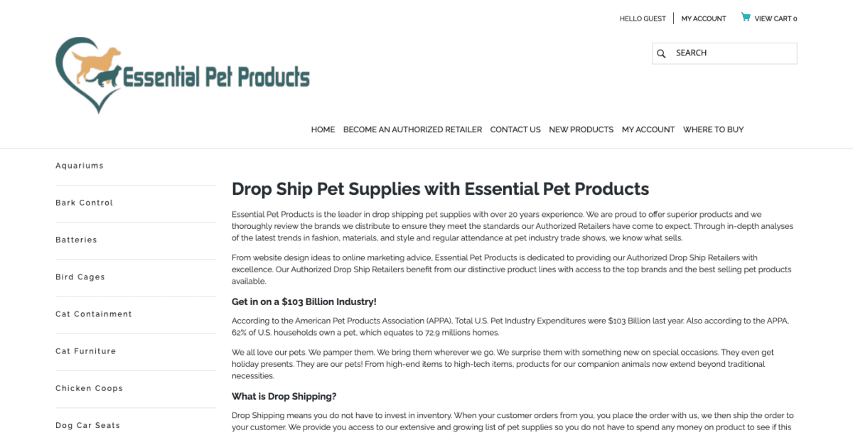Essential Pet Products homepage