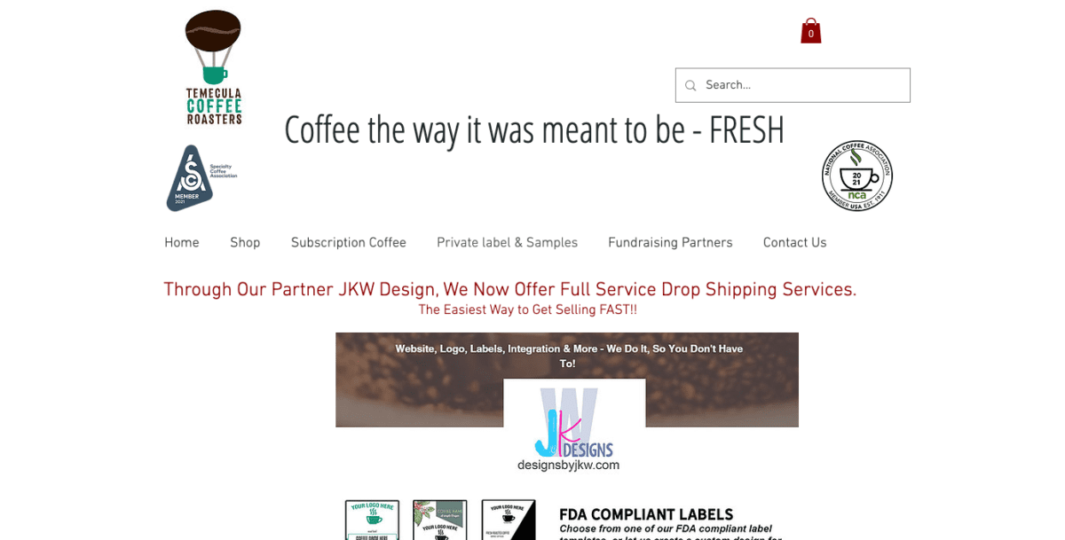Temecula Coffee Roasters Dropshipping page