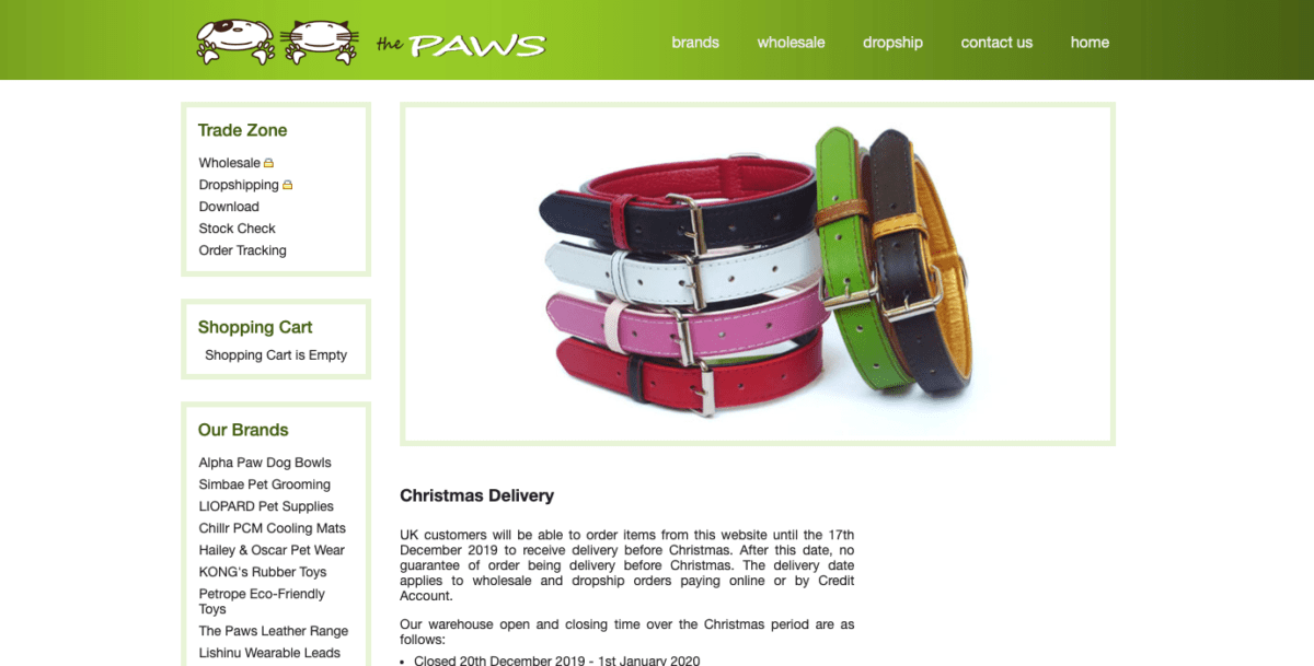 Paws Pet Supplies Homepage