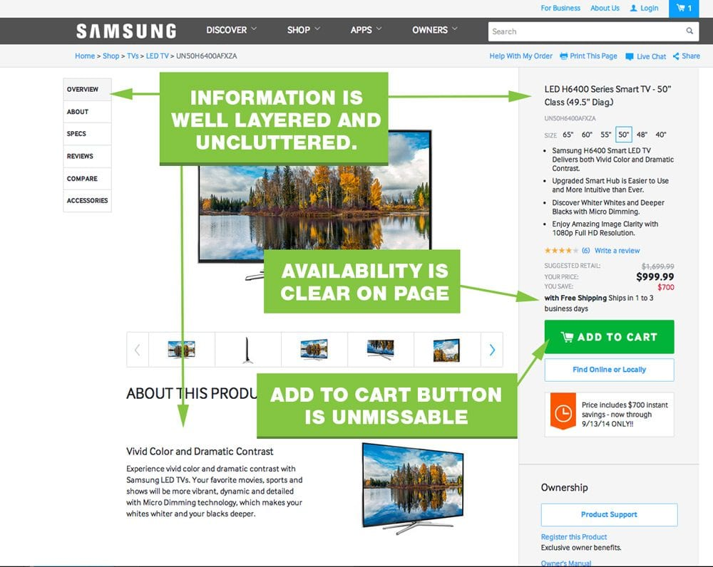 Samsung's Product Page Illustrates Many Best Practices